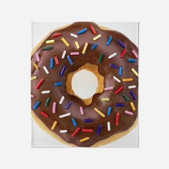 Chocolate Donut and Rainbow Sprinkle Throw Blanket