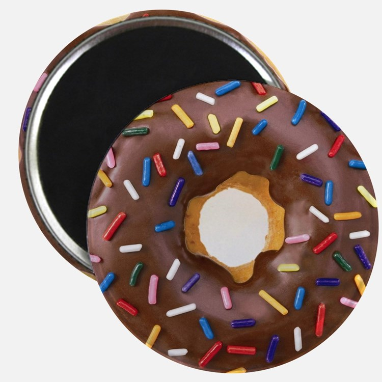 Chocolate Donut and Rainbow Sprinkles Magnet