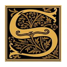 Gold Fleur2 Monogram S Tile Coaster
