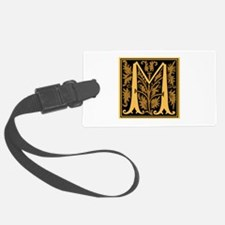 Gold Fleur2 Monogram M Luggage Tag