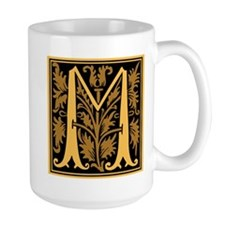 Gold Fleur2 Monogram M Mug