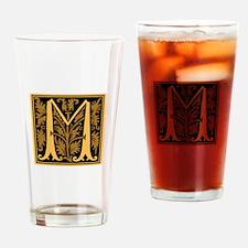 Gold Fleur2 Monogram M Drinking Glass