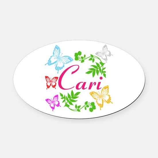 Personalize Name Dancing Butterflies Oval Car Magn