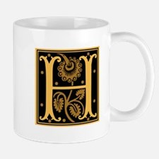 Gold Fleur2 Monogram H Mug