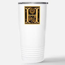 Gold Fleur2 Monogram H Travel Mug