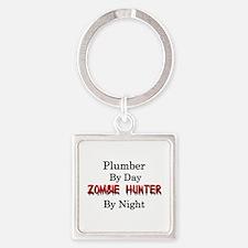 Plumber/Zombie Hunter Square Keychain