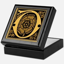 Gold Fleur2 Monogram D Keepsake Box