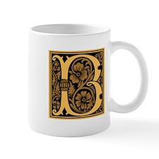 Gold Fleur2 Monogram B Mug