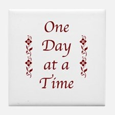 One Day At A Time-Burgundy Floral Tile Coaster