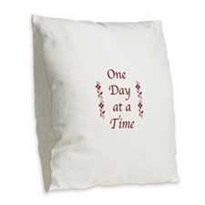 One Day at a Time-Burgundy Floral Accents Burlap T