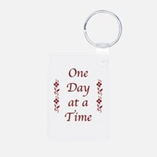 One Day at a Time-Burgundy Floral Accents Keychain