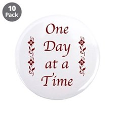 """One Day At A Time-Burgundy 3.5"""" Button (10 Pa"""