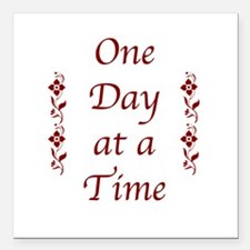 One Day at a Time-Burgundy Floral Accents Square C