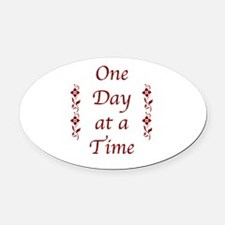 One Day At A Time-Burgundy Floral Oval Car Magnet