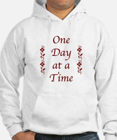 One Day at a Time-Burgundy Floral Accents Hoodie S