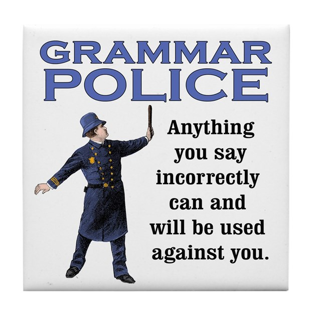 Grammar Police Tile Coaster by craftywench