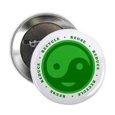 "Reduce Reuse Recycle Happy Face 2.25"" Button"