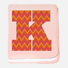 K Monogram Chevron baby blanket