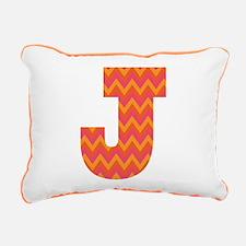 J Monogram Chevron Rectangular Canvas Pillow