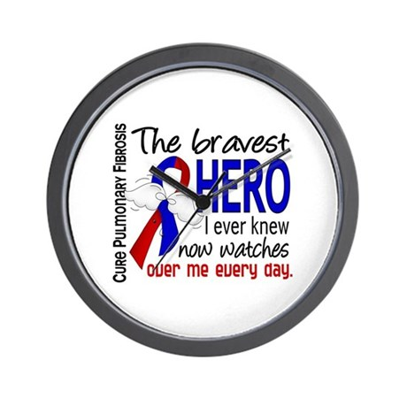 Pulmonary Fibrosis Bravest Hero I Knew Wall Clock