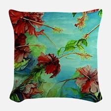 Hirokos Hibiscus 4 Woven Throw Pillow