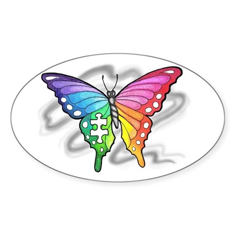 Rainbow butterfly with Puzzle piece Sticker (Oval)