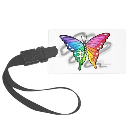 Rainbow butterfly with Puzzle pi Large Luggage Tag