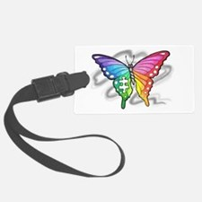 Rainbow butterfly with Puzzle pi Luggage Tag