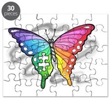 rainbow butterfly with  piece Puzzle