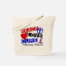 Pulmonary Fibrosis Peace Love Cure 1 Tote Bag