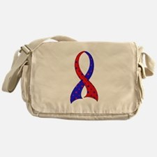 Pulmonary Fibrosis Polka Dot Ribbon Messenger Bag