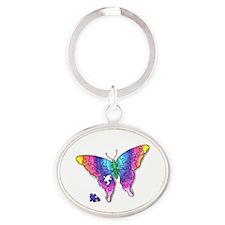 Rainbow Puzzle Buuterfly Oval Keychain