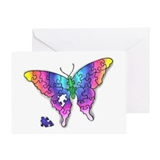 Rainbow Puzzle Buuterfly Greeting Card