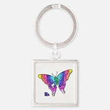 Rainbow Puzzle Buuterfly Square Keychain
