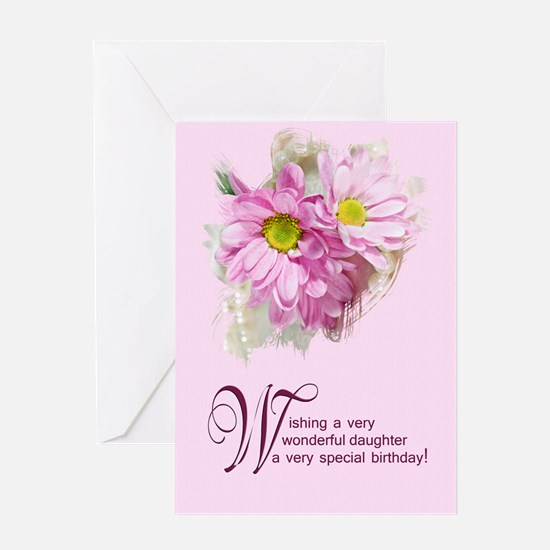 For a daughter, a birthday card with daisies Greet