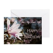 For wife, a birthday card with magnolias Greeting