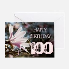 100th birthday card with magnolias Greeting Cards