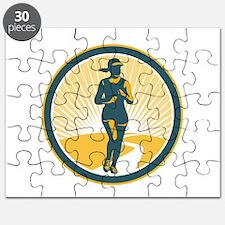 Female Marathon Runner Circle Retro Puzzle
