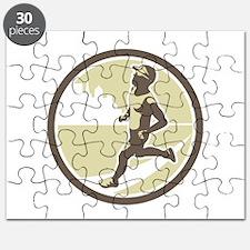Triathlete Running Side Circle Retro Puzzle