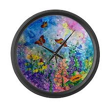 Butterfly Garden Large Wall Clock