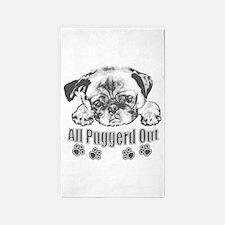 Puggerd out pug 3'x5' Area Rug