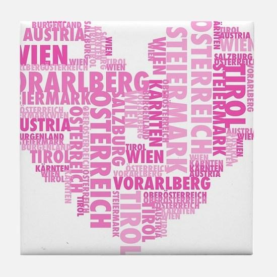 austria-in german words Tile Coaster