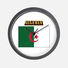 Flag of Algeria with Text Wall Clock