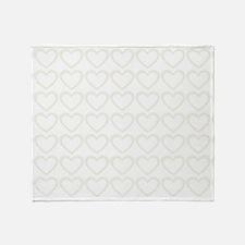 Romantic Spring Cream Hearts Pattern Throw Blanket