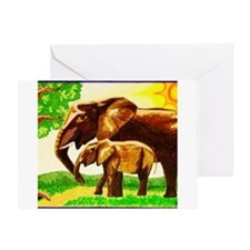 Mother And Baby Elephants Greeting Cards