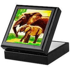 Mother and Baby Elephants Keepsake Box