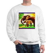 Mother and Baby Elephants Sweatshirt