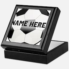 Personalized round soccer ball Keepsake Box