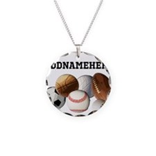Sports Balls, Custom Name Necklace Circle Charm