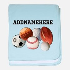 Sports Balls, Custom Name baby blanket